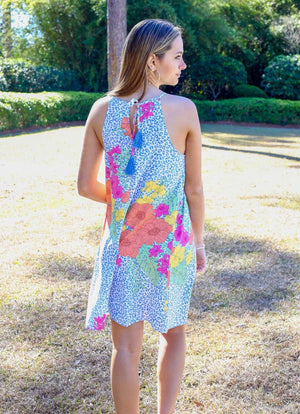 Sunset Cruise Tropical Blue Leopard Dress - Caroline Hill