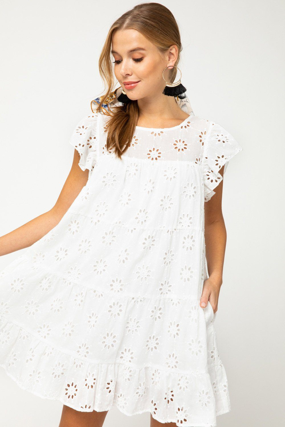 Sunshine In My Life White Eyelet Lace Dress - Caroline Hill