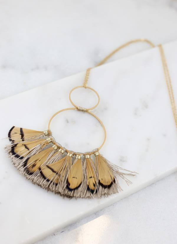 Sutherland Long Feather Necklace Taupe - Caroline Hill
