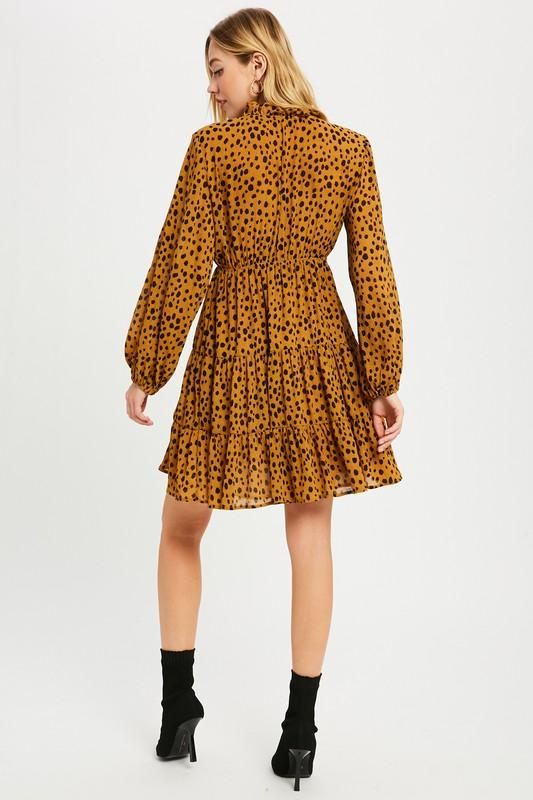 Sweet Return Caramel Spotted Dress - Caroline Hill