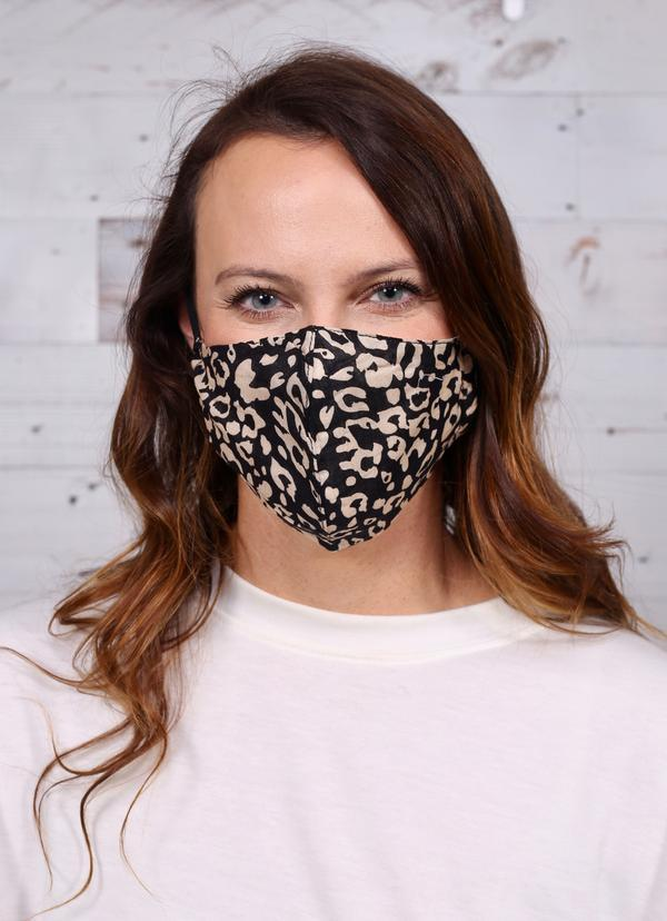 Sydnie Leopard Face Mask Brown - Caroline Hill