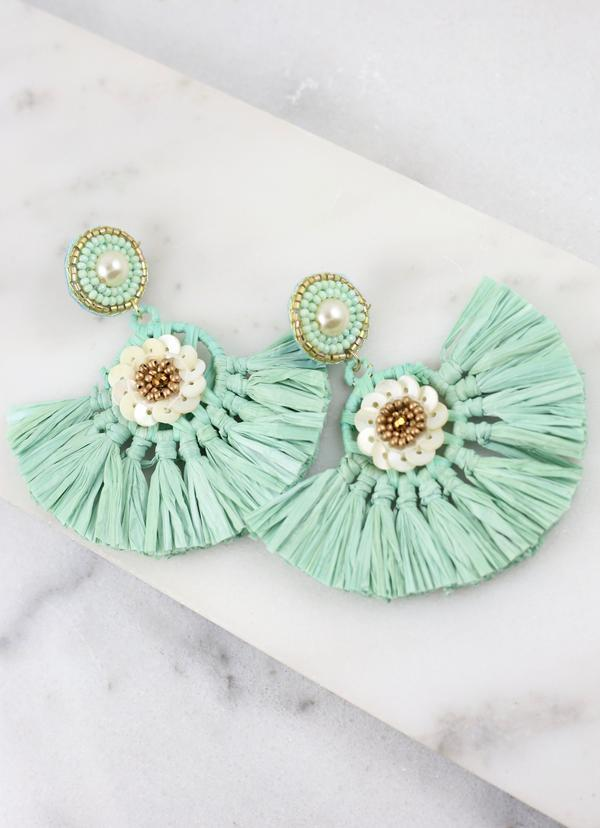 Tahiti Beaded Raffia Fan Mint Earring - Caroline Hill