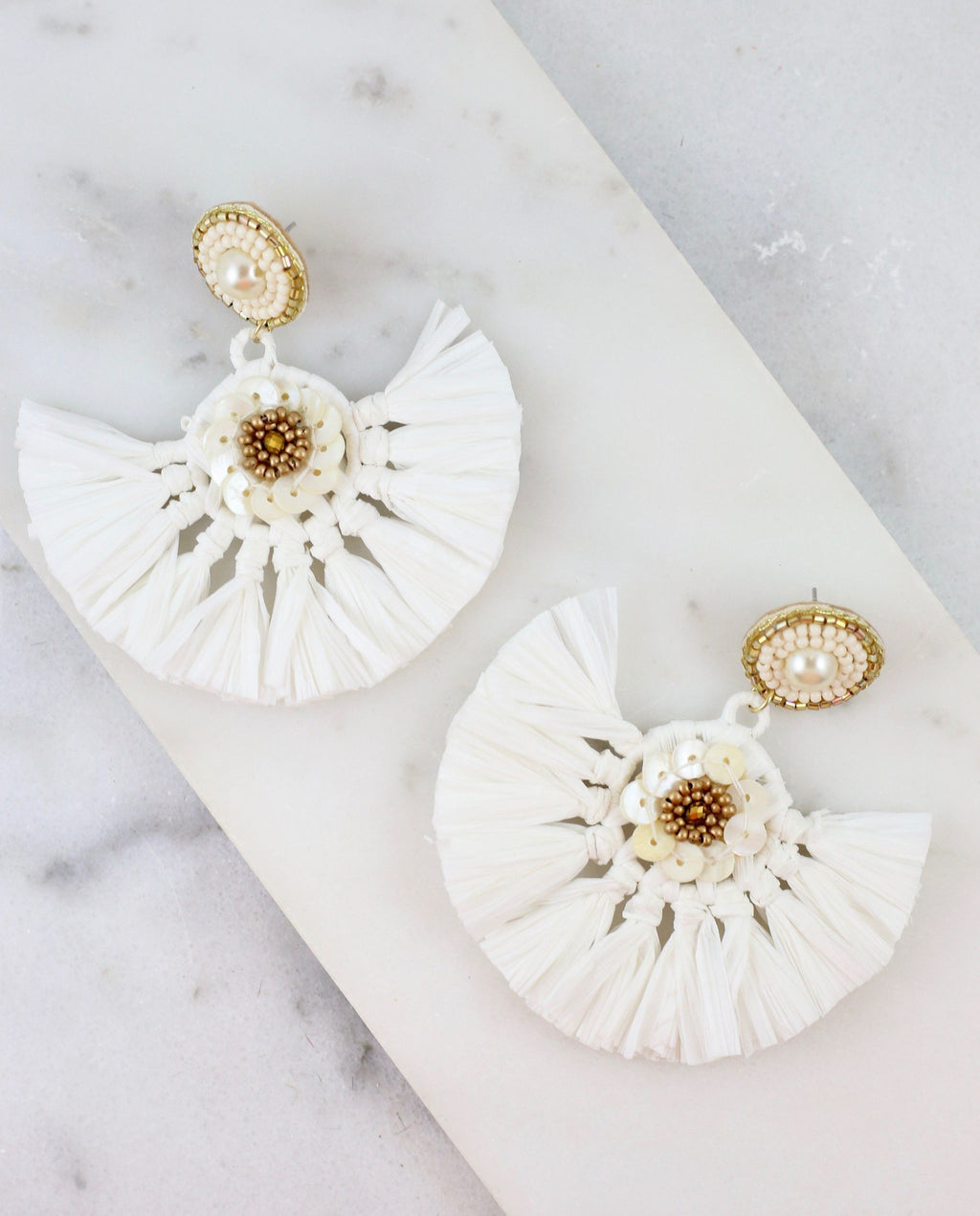 Tahiti White Raffia Fan Earring - Caroline Hill