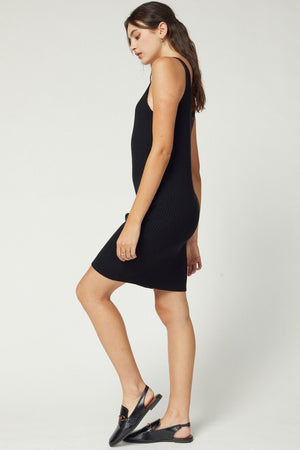 Take Me Away Ribbed Black Dress - Caroline Hill