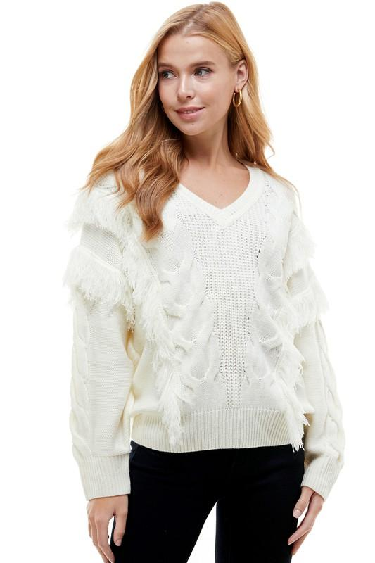Take Me To The Mountains Fringe Sweater - Caroline Hill