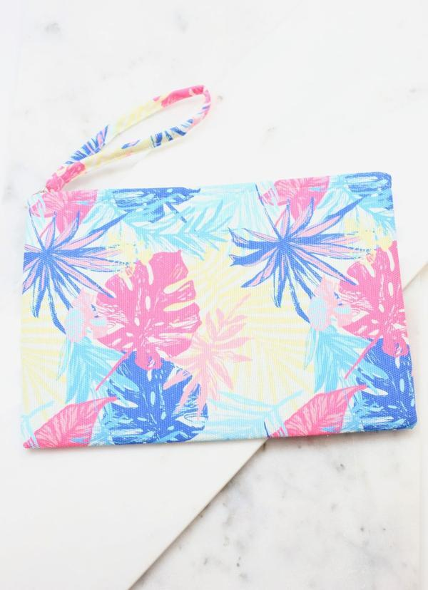 Take Me To The Tropics Palm Pouch Multi - Caroline Hill