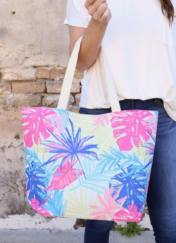 Take Me To The Tropics Palm Tote Multi - Caroline Hill