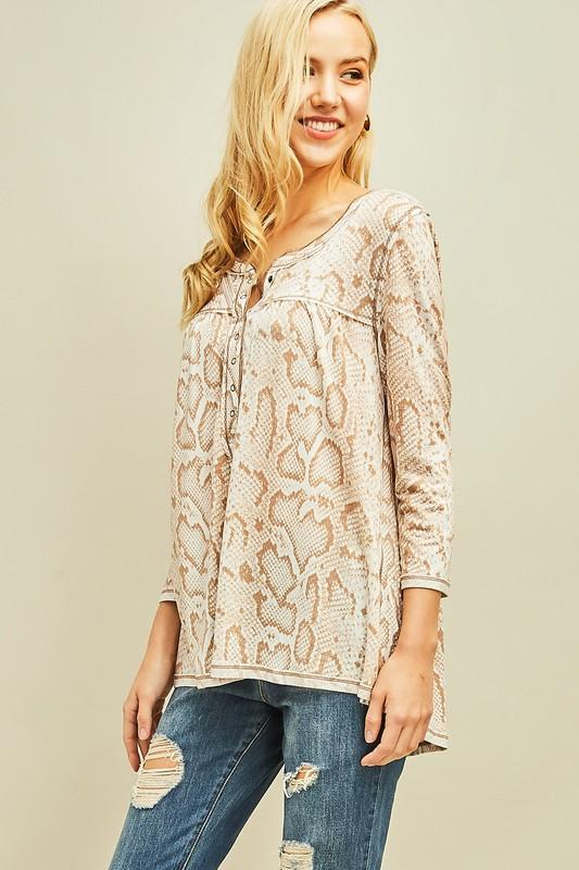 Take The Leap Mocha Snake Print Henley - Caroline Hill