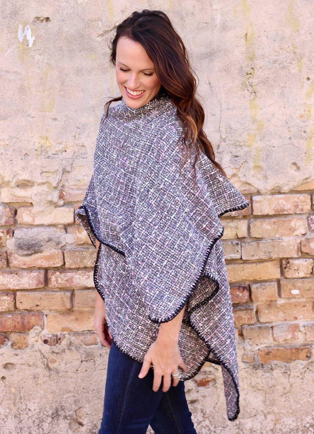 Talley Gray Tweed Wrap/ Cape - Caroline Hill