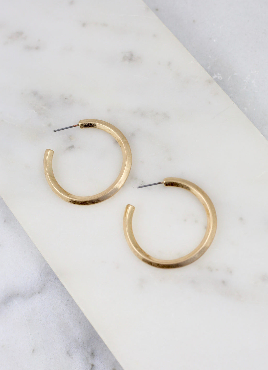 Tally Worn Gold Hoop - Caroline Hill