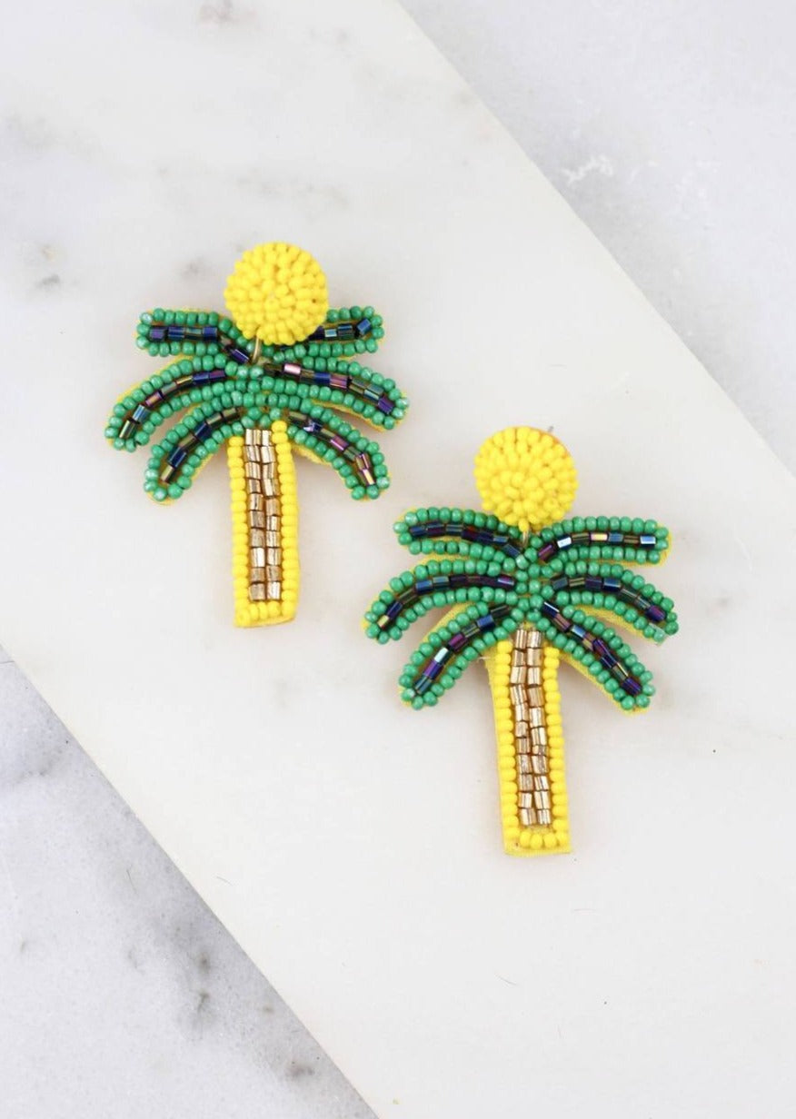 Tara Yellow Beaded Palm Tree Earring - Caroline Hill
