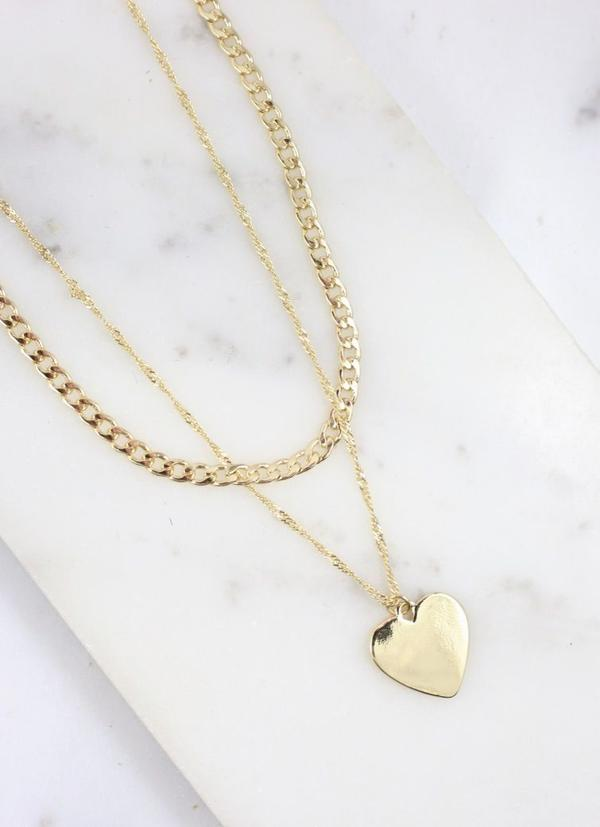 Telson Layered Chain Necklace With Heart Charm Gold - Caroline Hill