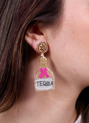 Tequila Bottle Beaded Earring Pink - Caroline Hill