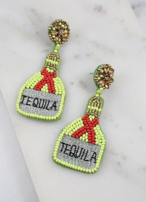 Tequila Bottle Beaded Earring Red - Caroline Hill