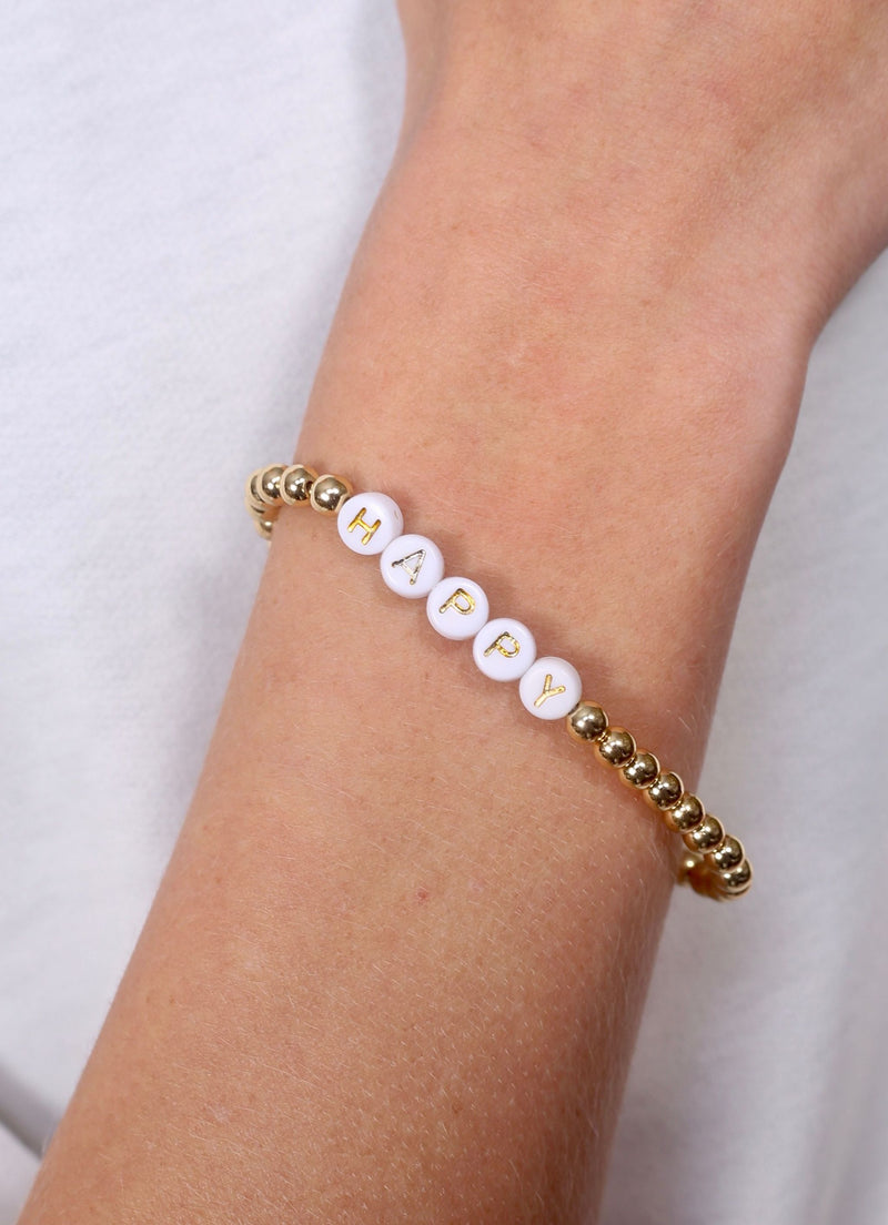 Tessy Happy Beaded Bracelet Gold - Caroline Hill