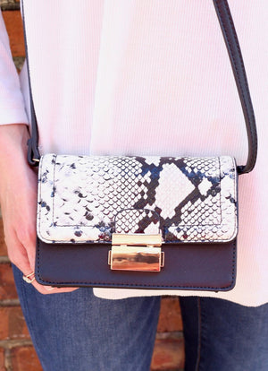 Thackery Crossbody With Snake Accent Black - Caroline Hill