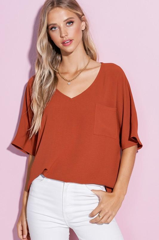 The Way The Cookie Crumbles Rust V-Neck Tee - Caroline Hill