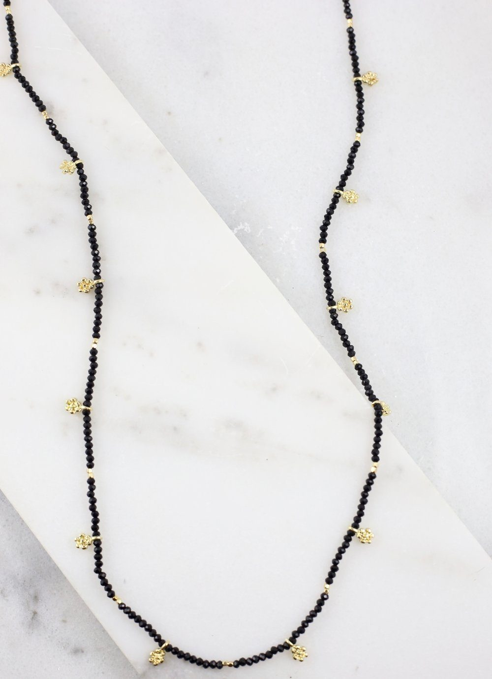 Thorne Black Long Beaded Necklace With Gold Charms - Caroline Hill