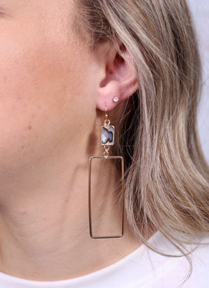 Thornton Rectangle Drop Earring Abalone - Caroline Hill