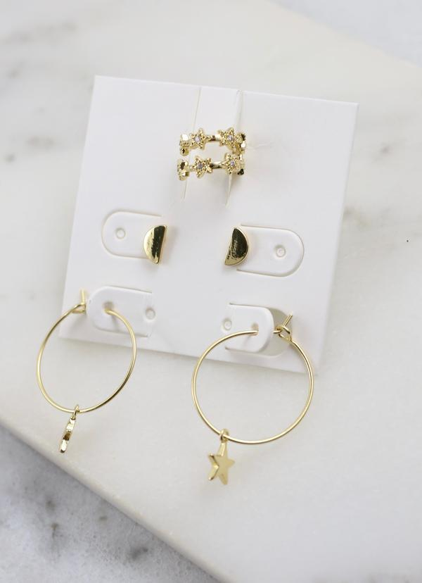 Tibby Star Hoop Earring Set Gold - Caroline Hill