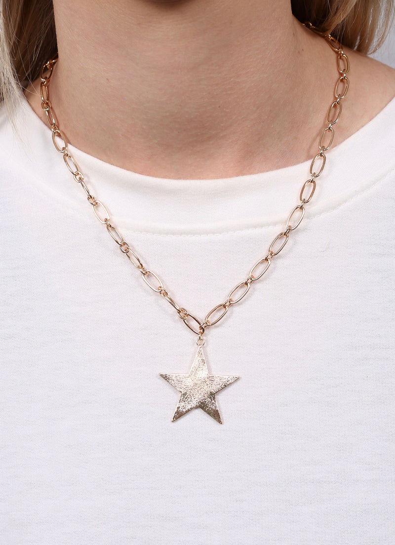 Tiff Gold Star Chain Necklace - Caroline Hill
