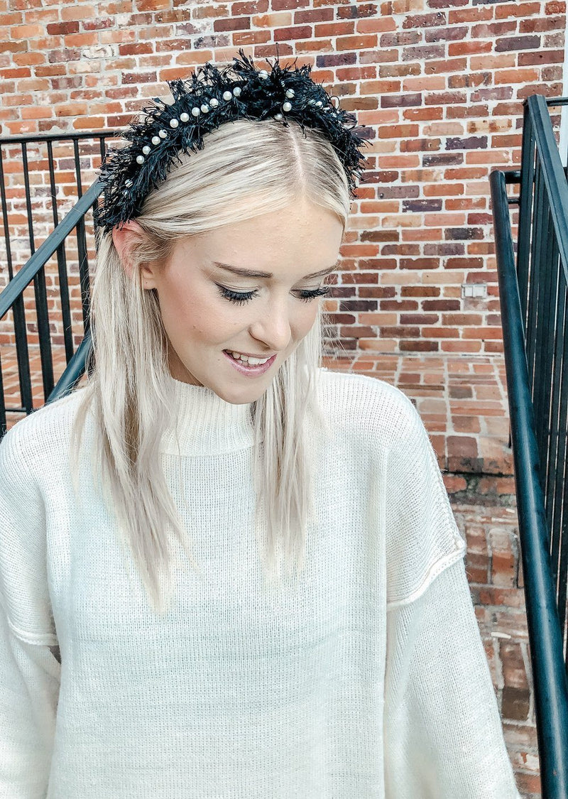 Tiffani Black Fringe and Pearls Headband - Caroline Hill