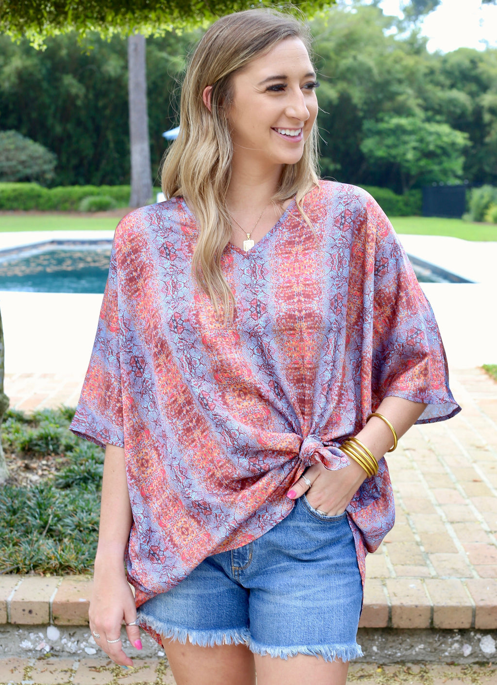 Tiki Bar sunset Snake Tunic - Caroline Hill
