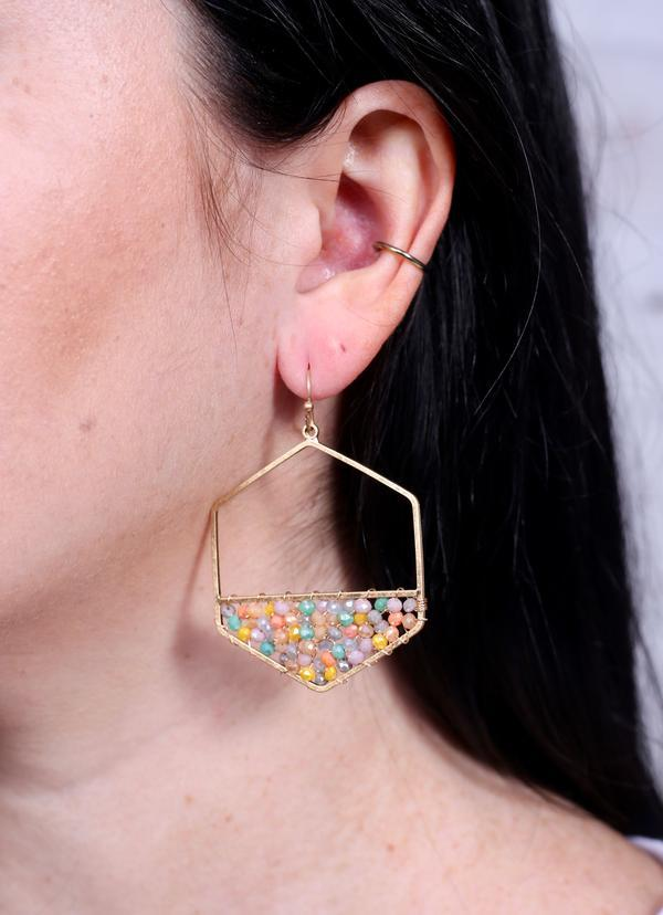 Tilston Beaded Hexagon Earring Multi - Caroline Hill