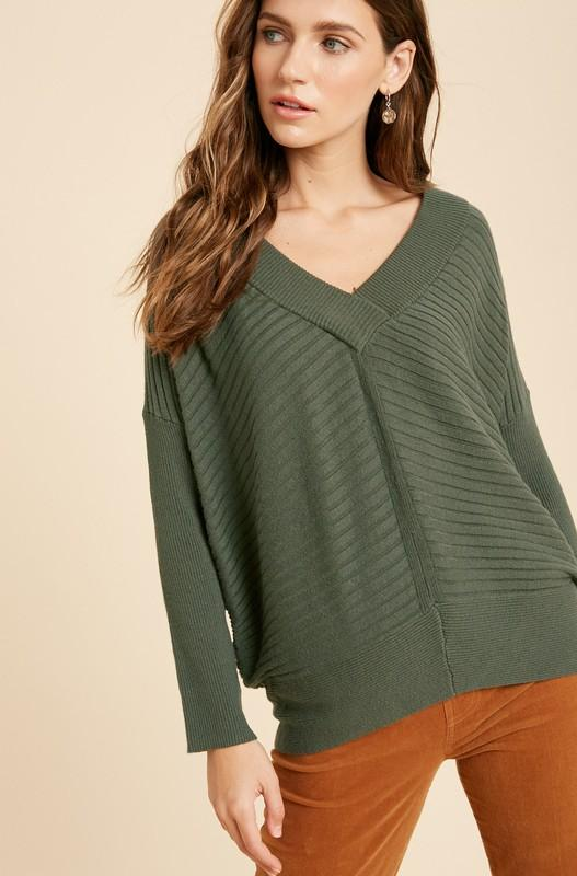 Time To Relax Olive Sweater - Caroline Hill