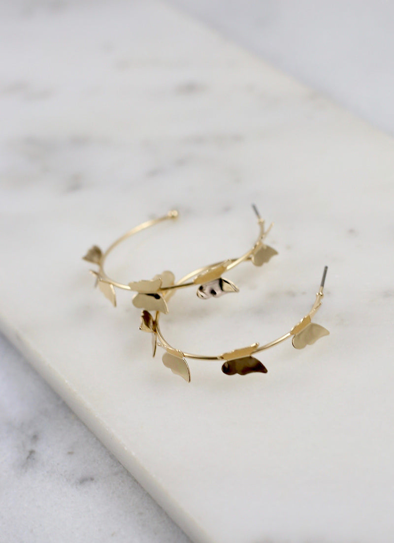 Timothee Gold Butterfly Hoop - Caroline Hill