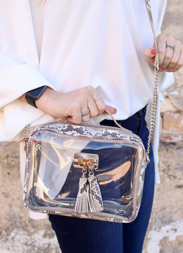 Tinzley Snake Latte Clear Bag - Caroline Hill