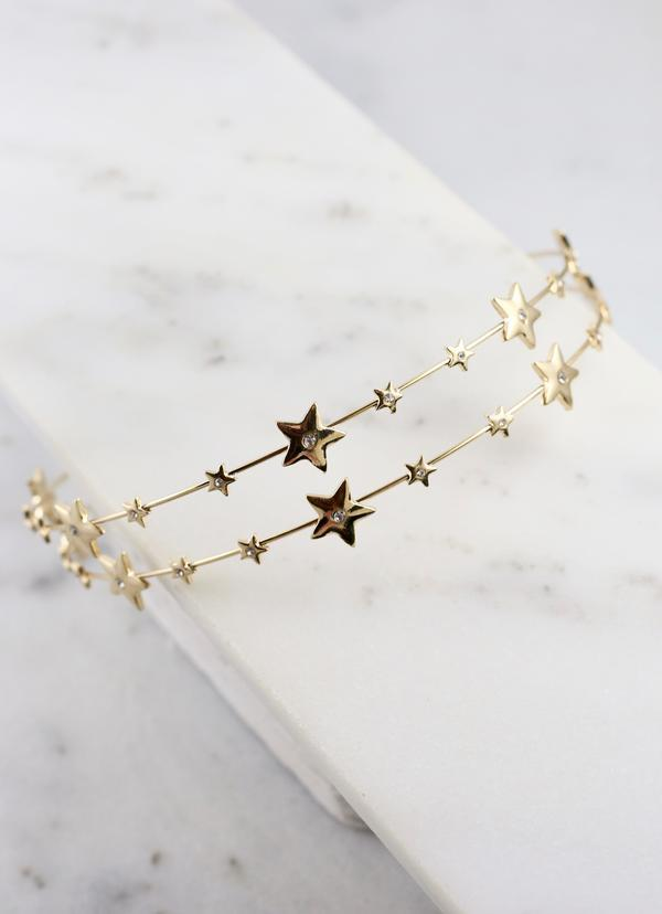 Tommy Double Row Star Metal Headband Gold - Caroline Hill