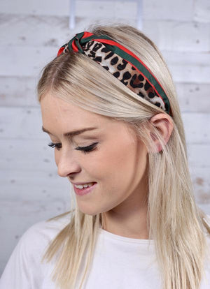 Townsend Brown Striped Animal Print Headband - Caroline Hill