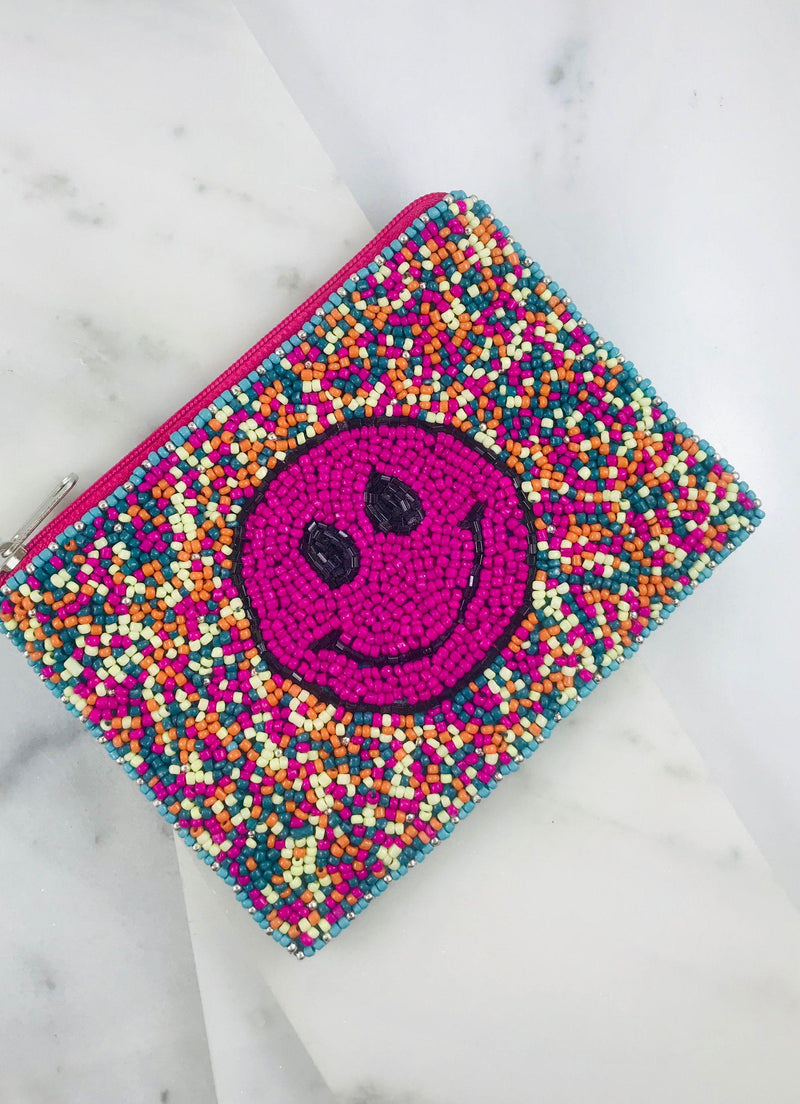 Travis Smiley Face Beaded Pouch Multi - Caroline Hill