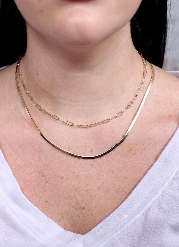 Treen Double Layered Necklace Gold - Caroline Hill