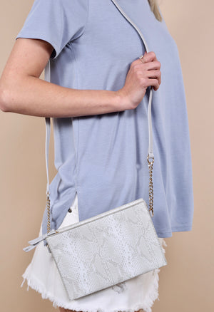 Trina Triple Compartment White Snake Crossbody - Caroline Hill