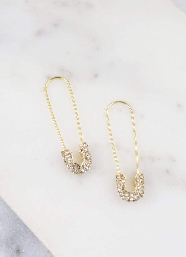 Trinity Safety Pin Earring Gold - Caroline Hill