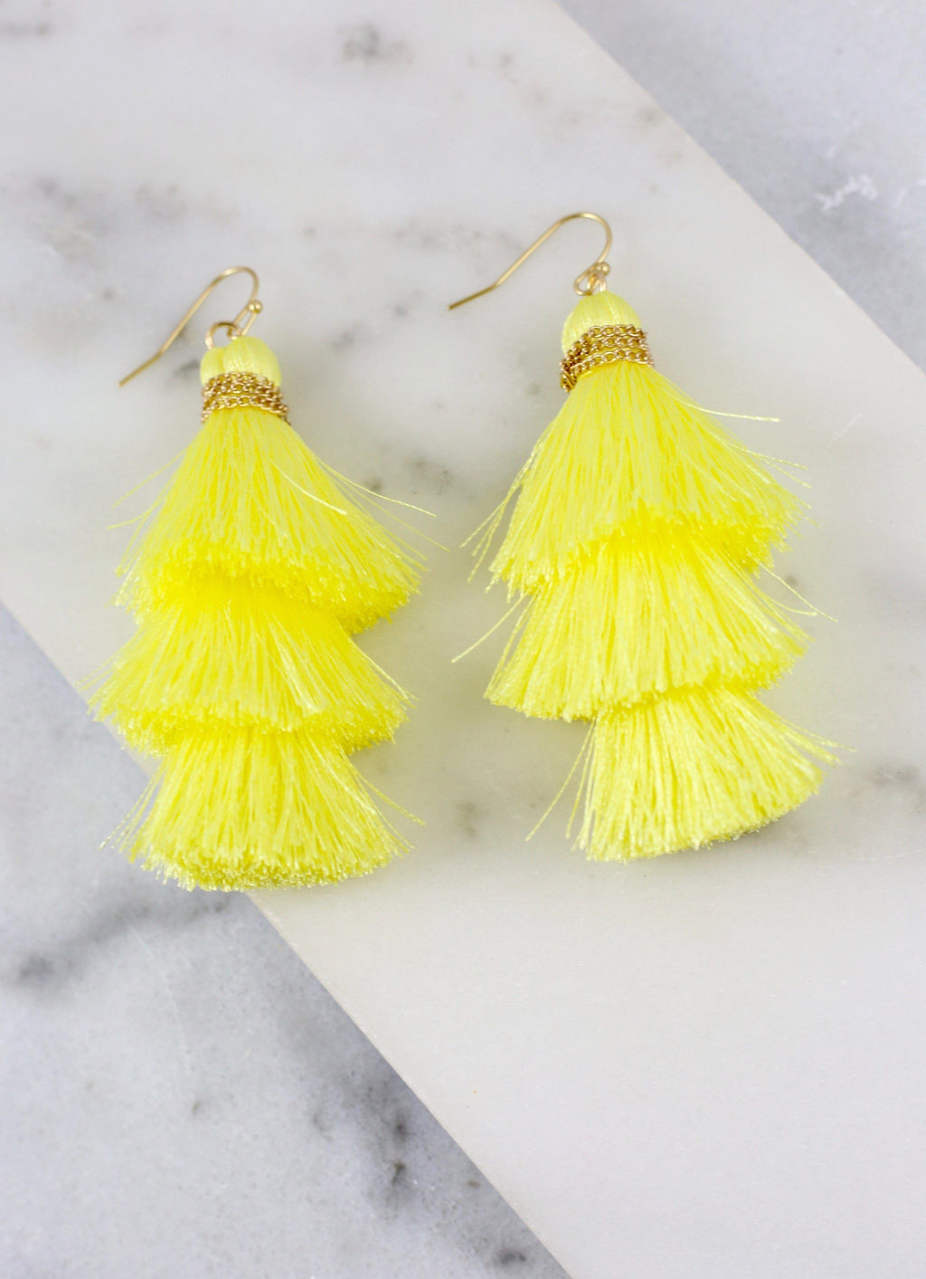 Tristan Triple Tassel Earring Light Yellow - Caroline Hill