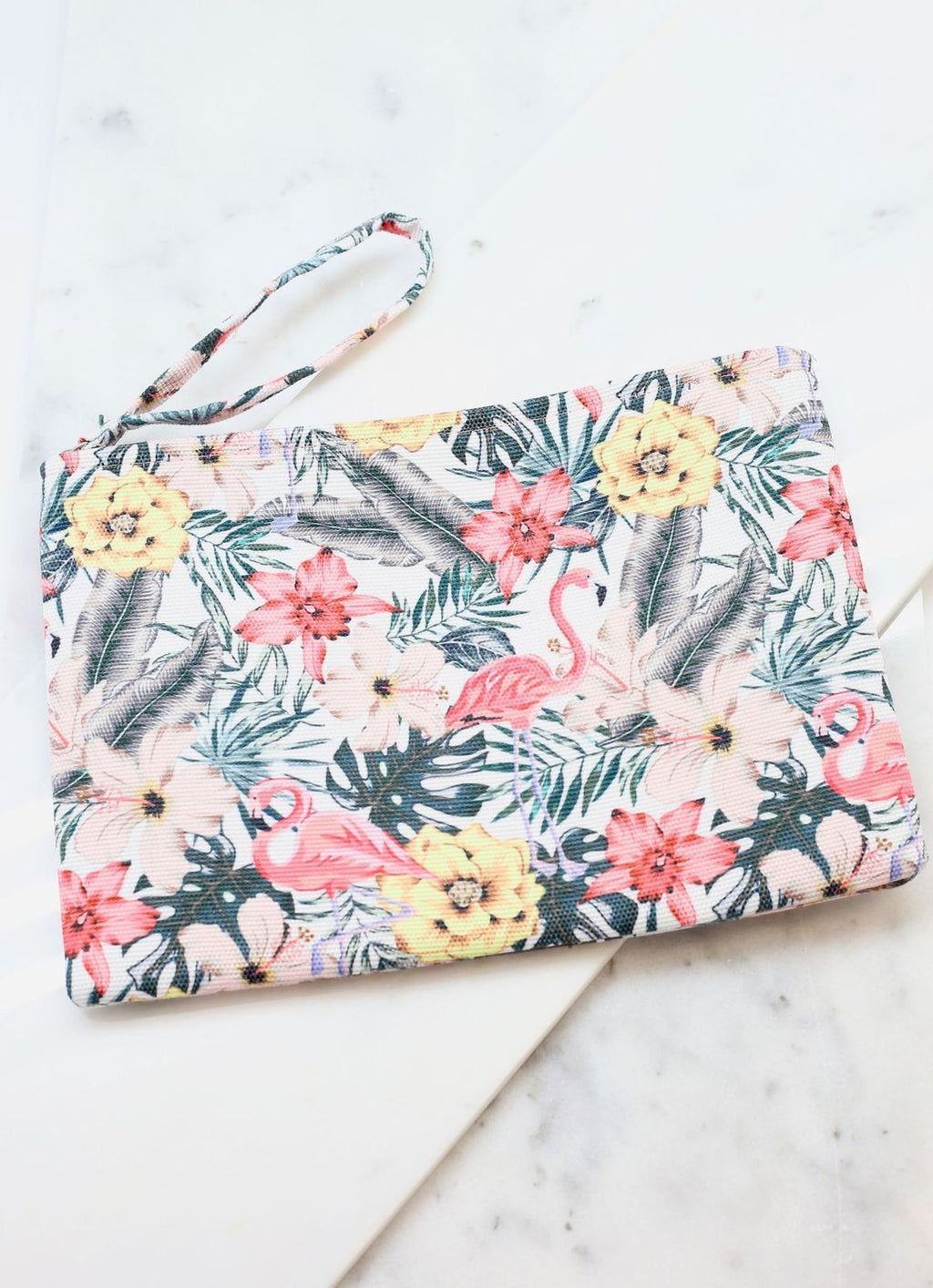 Tropical Hibiscus Flamingo Pouch - Caroline Hill