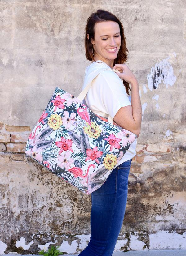 Tropical Hibiscus Tote With Flamingos Pink - Caroline Hill