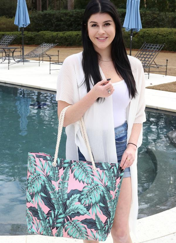 Tropical Palm Bag With Rope Handles Pink - Caroline Hill