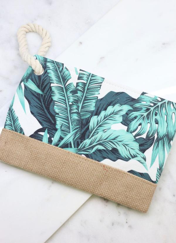 Tropical Palm Green Pouch - Caroline Hill