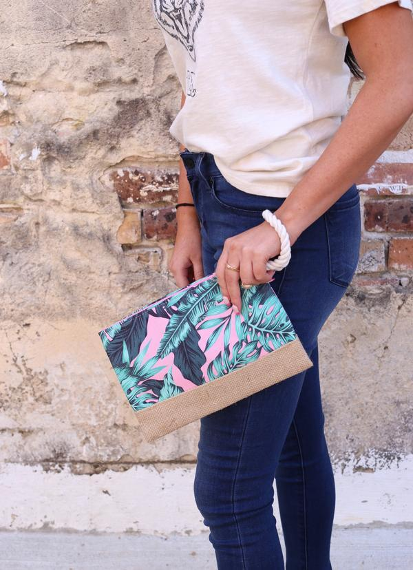 Tropical Palm Pink Pouch - Caroline Hill