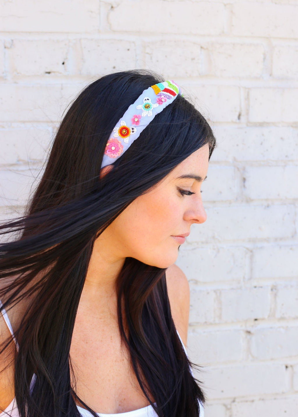 Tucker Light Blue Beaded Turtle Headband - Caroline Hill