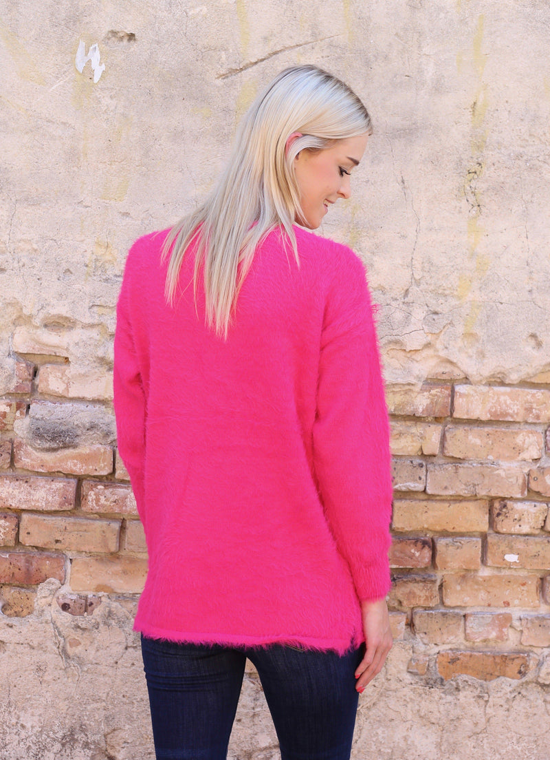 Tucker Soft and Fuzzy Hot Pink Sweater - Caroline Hill