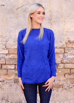Tucker Soft and Fuzzy Royal Blue Sweater - Caroline Hill