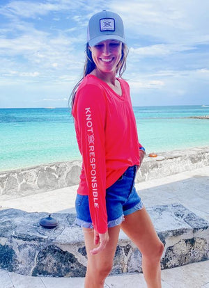 V Neck Ladies Sleeve Logo Performance Long Sleeve - Neon Coral - Caroline Hill