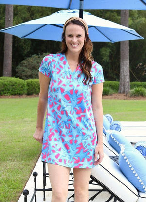 Vanessa V Neck Dress Bluffharbor Starfish - Caroline Hill
