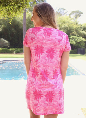 Vanessa V Neck Dress Pig Island Pink - Caroline Hill