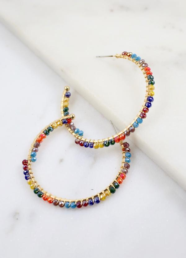 Varley Beaded Hoop Earring Multi - Caroline Hill